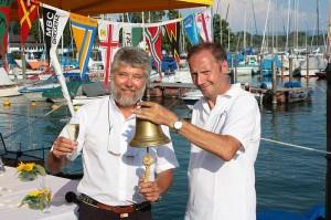 SMCF-Präsident Hans-Peter-Benz und OSB-Präsident Volker Friedrich läuten die Bodensee-Traditionswoche ein (Foto: st).